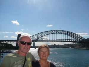 Nico and Riet with the Sydney Harbour bridge