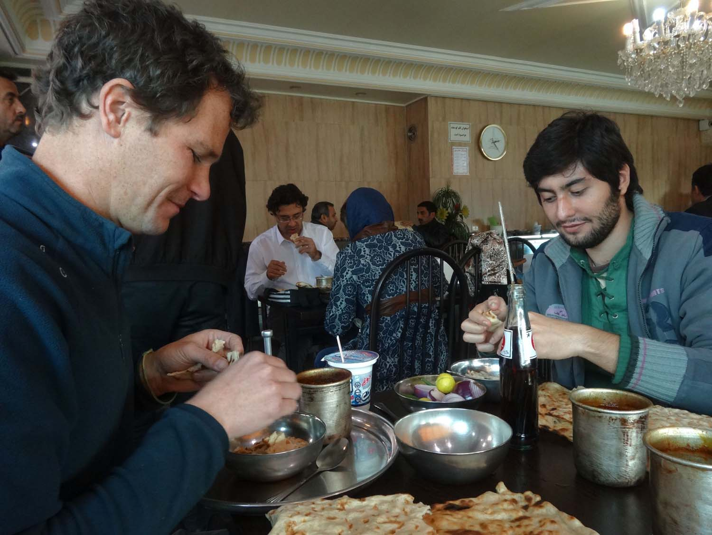 Sina and Jon eating the best dizi in Tabriz