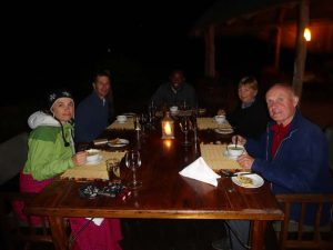 enjoying dinner at Little Oliver's camp in Tarangire NP