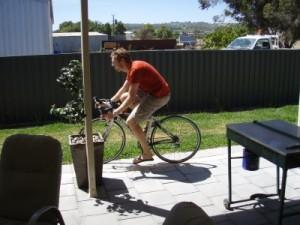 Pete tries Jude's bike...