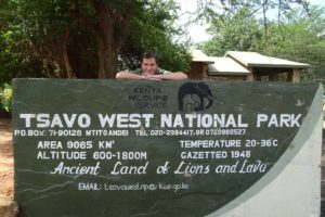 Jon at the entry sign of Tsavo West, the gate is just off Mombasa Rd