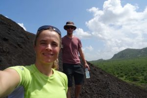 Jude and Jon on Chaimu, a volcanic cone in Tsavo West NP where you can hike to the top for some spectacular views