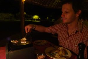 Jon enjoying his own private bbq for dinner at Severin Lodge