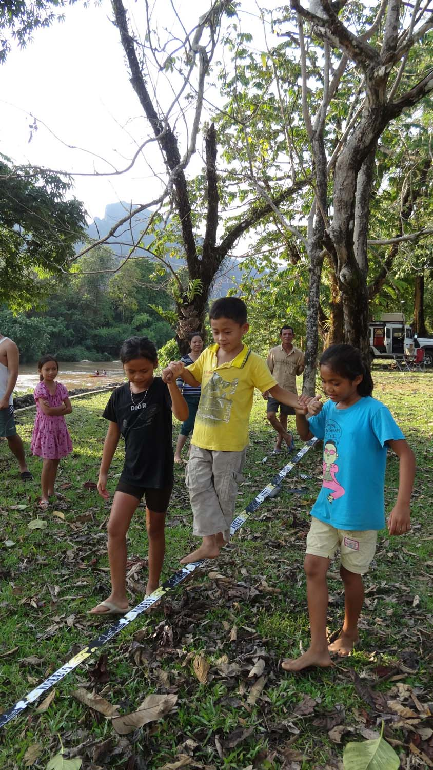 local kids had a lot of fun trying the slackline