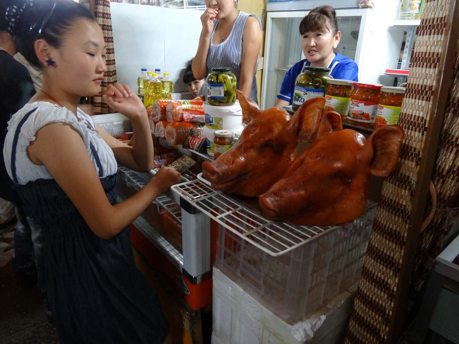 pig's head anyone? they sell everything at this black market in UB