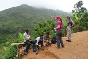 Charles, Esther, Jude and Barbara having a quick break in the Uluguru Mountains