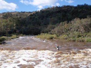 the approach towards Bells Rapids as seen from the bridge - Troye coming down first