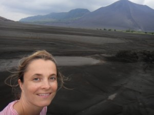 first view of Mt Yasur, the active volcano we are about to climb