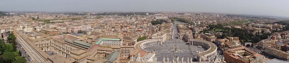 panoramic view over St Peter's Square and Rome