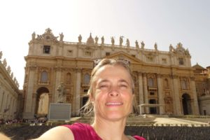 Jude on St Peter's Square, the St Peter's Basilica in the background