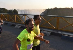 Hafiz and Annez crossing the bridge into Zambia