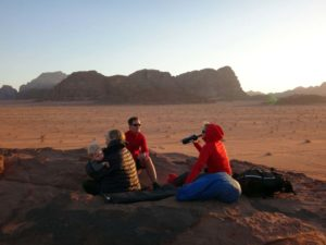enjoying sundowners in Wadi Rum