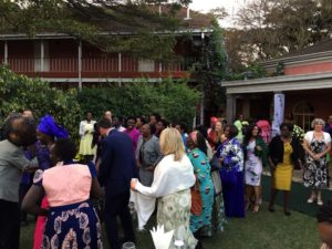 the ladies bringing the newlyweds to the party whilst singing to the sound of the nyatiti