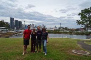 Jon, Jude, Simon and Katie in Sydney after a lovely paddle through the Sydney harbour