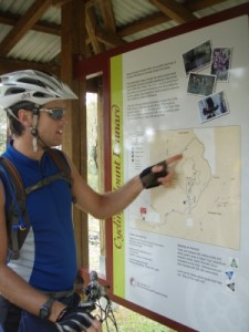checking the map of the Mt Lennard mtb trails