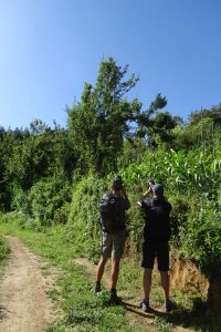 Gerhard and Jon taking a photo of the tree pipit, a first for our guide