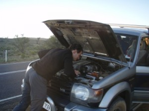 unfortunately the Pajero spits out all its coolant somewhere in the middle of nowhere (with no phone reception)