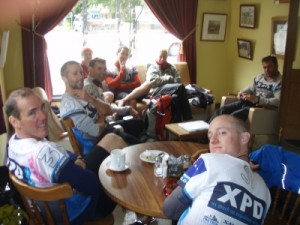 shortly after we are resting at a café as the race has been stopped